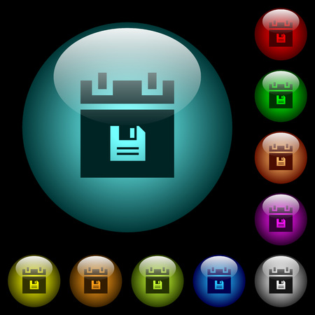 Save schedule data icons in color illuminated spherical glass buttons on black background. Can be used to black or dark templates