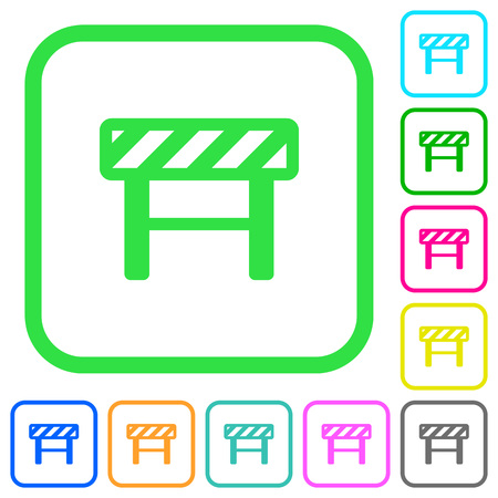 Construction barrier vivid colored flat icons in curved borders on white background