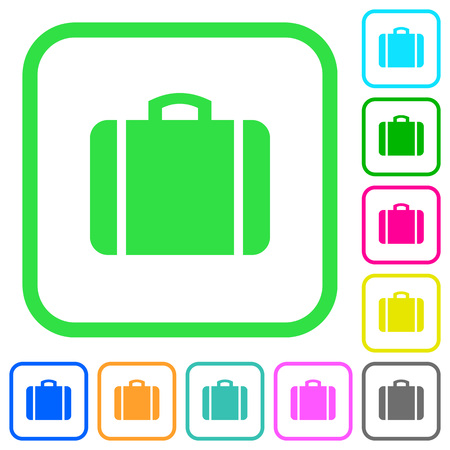 Suitcase vivid colored flat icons in curved borders on white background