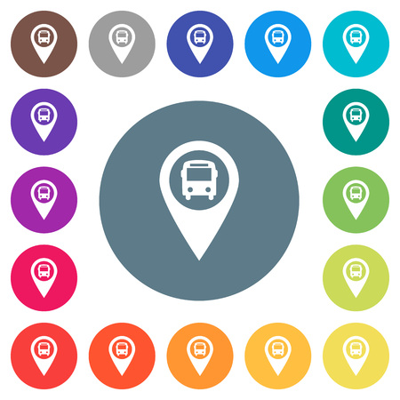 Public transport GPS map location flat white icons on round color backgrounds. 17 background color variations are included.