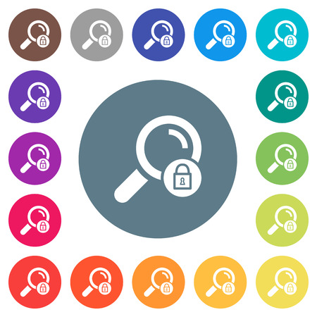 Search locked flat white icons on round color backgrounds. 17 background color variations are included.