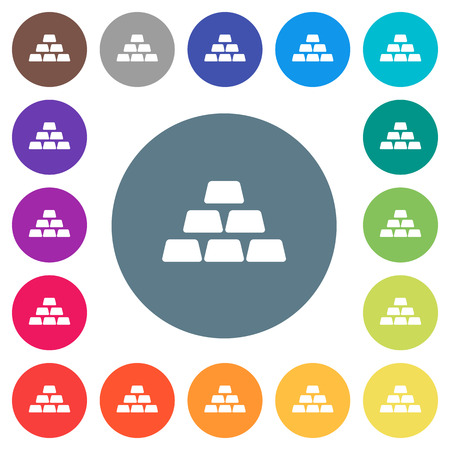 Stack of gold bars flat white icons on round color backgrounds. 17 background color variations are included.