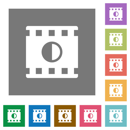 Movie contrast flat icons on simple color square backgrounds