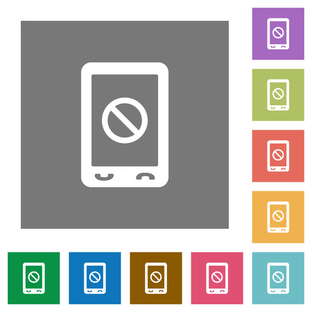 Mobile disabled flat icons on simple color square backgrounds Çizim