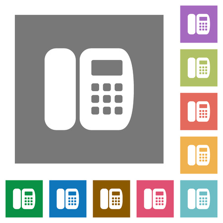 Office phone flat icons on simple color square backgrounds