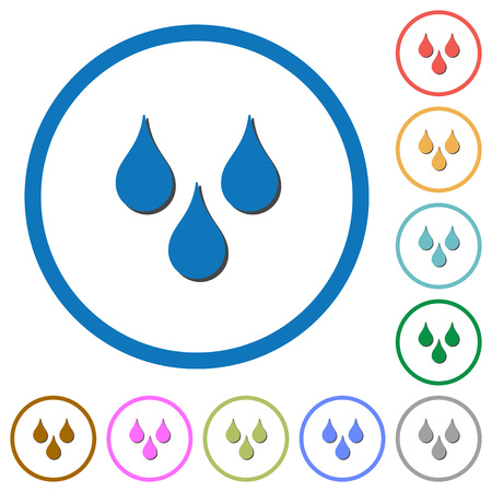 Water drops flat color vector icons with shadows in round outlines on white background