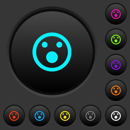 Shocked emoticon dark push buttons with vivid color icons on dark grey background