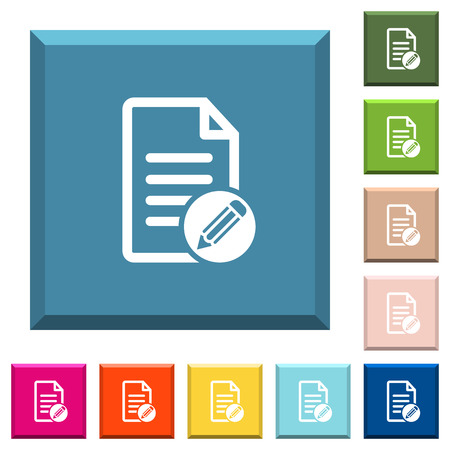 Edit document white icons on edged square buttons in various trendy colors