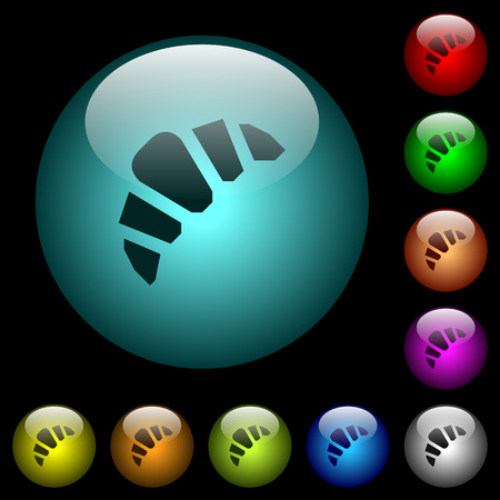 Bakery icons in color illuminated spherical glass buttons on black background. Can be used to black or dark templates