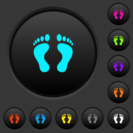 Human Footprints dark push buttons with vivid color icons on dark grey background
