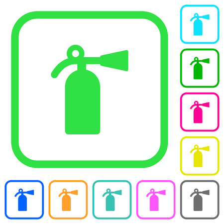 Fire extinguisher vivid colored flat icons in curved borders on white background Illustration