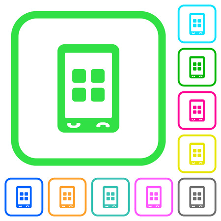 Mobile applications vivid colored flat icons in curved borders on white background