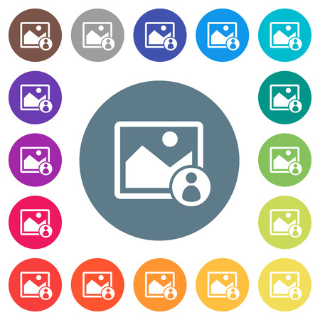 Image owner flat white icons on round color backgrounds. 17 background color variations are included.