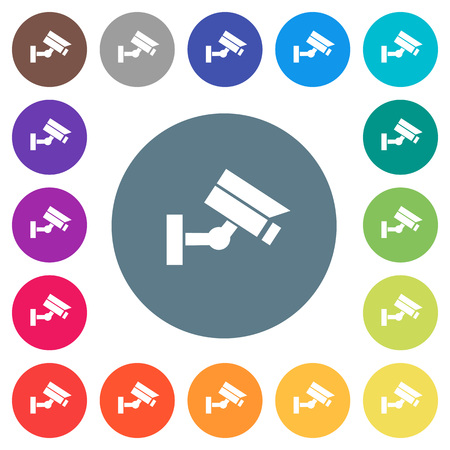 Security camera flat white icons on round color backgrounds. 17 background color variations are included. Stock Illustratie