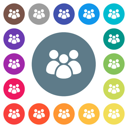 Team flat white icons on round color backgrounds. 17 background color variations are included.