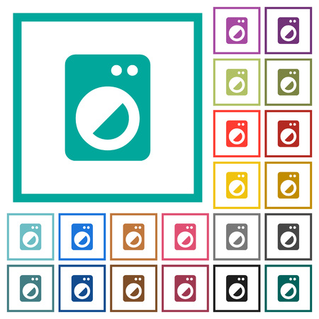 Washing machine flat color icons with quadrant frames on white background
