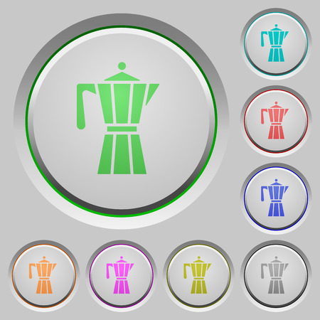 Coffee maker color icons on sunk push buttons