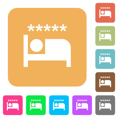 Luxury hotel flat icons on rounded square vivid color backgrounds. Illustration