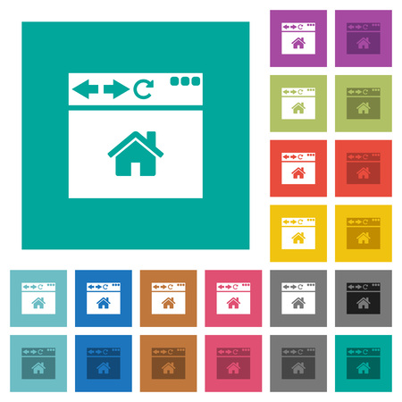 Browser home page multi colored flat icons on plain square backgrounds. Included white and darker icon variations for hover or active effects. Banque d'images - 101557800