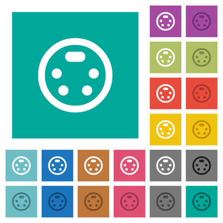 S-video connector multi colored flat icons on plain square backgrounds. Included white and darker icon variations for hover or active effects.
