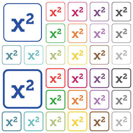 Math exponentiation color flat icons in rounded square frames. Thin and thick versions included.