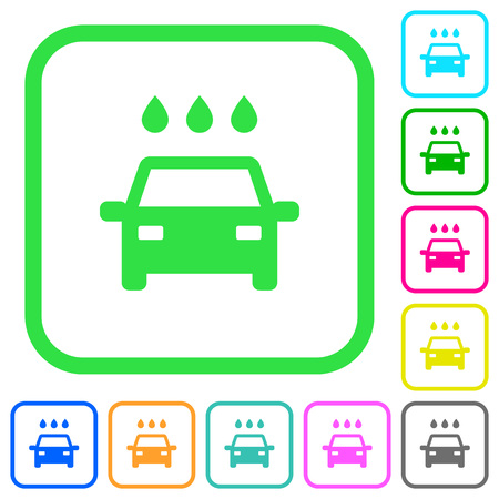 Car wash vivid colored flat icons in curved borders on white background