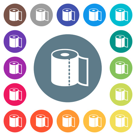 Paper towel flat white icons on round color backgrounds. 17 background color variations are included.