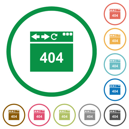 Browser 404 page not found flat color icons in round outlines on white background Illustration
