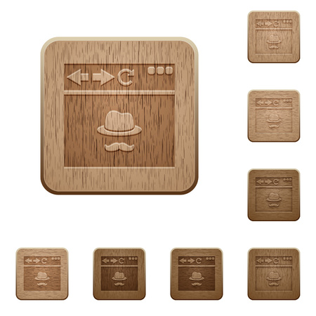 Browser incognito window on rounded square carved wooden button styles