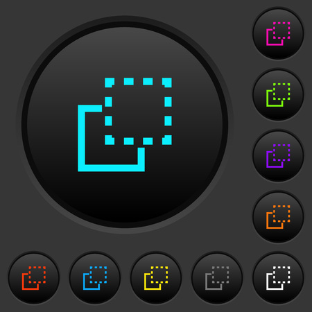 Bring element to front dark push buttons with vivid color icons on dark grey background Illustration