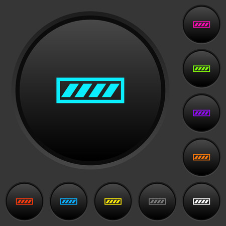 Progress bar dark push buttons with vivid color icons on dark grey background
