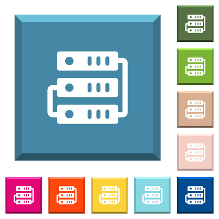 Connected servers white icons on edged square buttons in various trendy colors  イラスト・ベクター素材