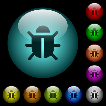 Computer bug icons in color illuminated spherical glass buttons on black background. Can be used to black or dark templates 일러스트