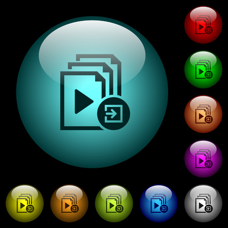 Import playlist icons in color illuminated spherical glass buttons on black background. Can be used to black or dark templates