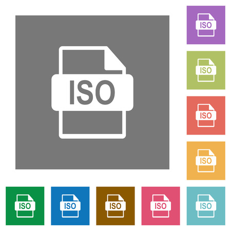 ISO file format flat icons on simple color square backgrounds