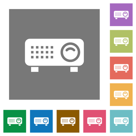 Video projector flat icons on simple color square backgrounds