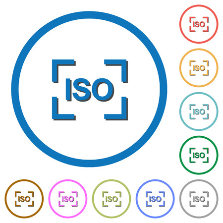 Camera iso speed setting flat color vector icons with shadows in round outlines on white background