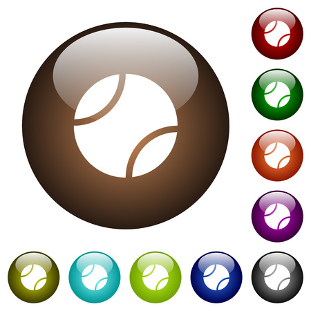 Tennis ball white icons on round color glass buttons