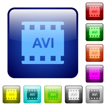 AVI movie format icons in rounded square color glossy button set Illustration