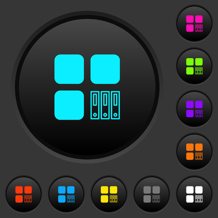 Archive component dark push buttons with vivid color icons on dark grey background Ilustração