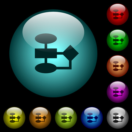 Flowchart icons in color illuminated spherical glass buttons on black background. Can be used to black or dark templates