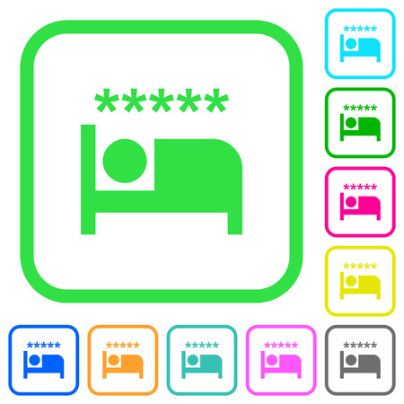 Luxury hotel vivid colored flat icons in curved borders on white background