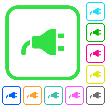 Power plug vivid colored flat icons in curved borders on white background