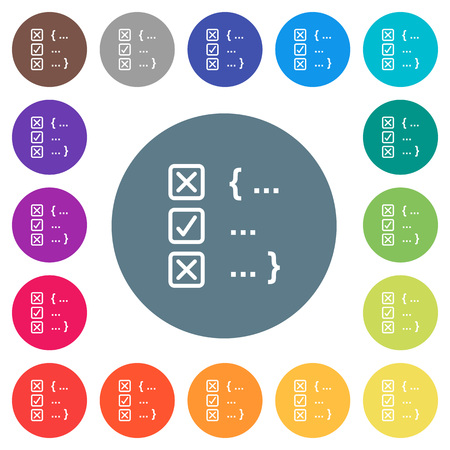 Source code checking flat white icons on round color backgrounds. 17 background color variations are included.