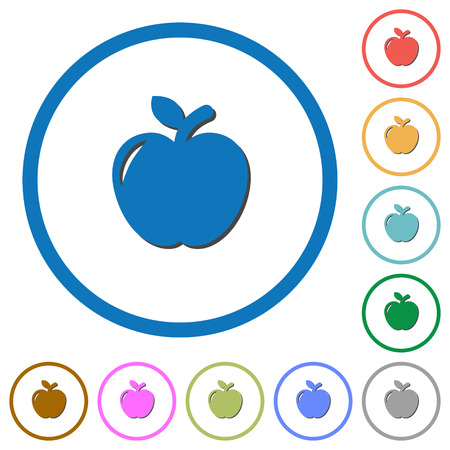 Apple flat color vector icons with shadows in round outlines on white background Çizim