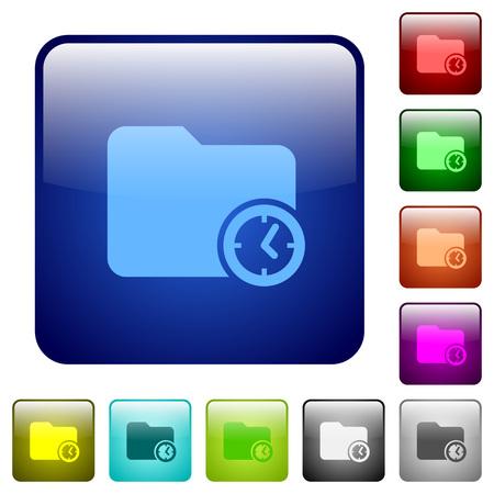 Icônes de temps de création de répertoire dans le jeu de boutons brillant de couleur carrée arrondie