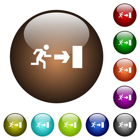 Señal de salida iconos blancos en botones redondos de vidrio de color