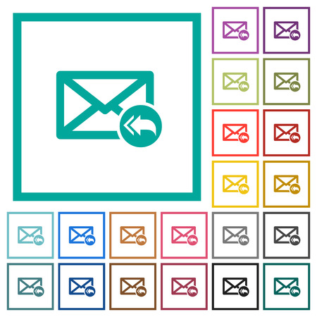 Mail reply to all recipient flat color icons with quadrant frames on white background Vectores