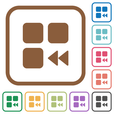 Component fast backward simple icons in color rounded square frames on white background