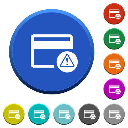 Credit card warning round color beveled buttons with smooth surfaces and flat white icons
